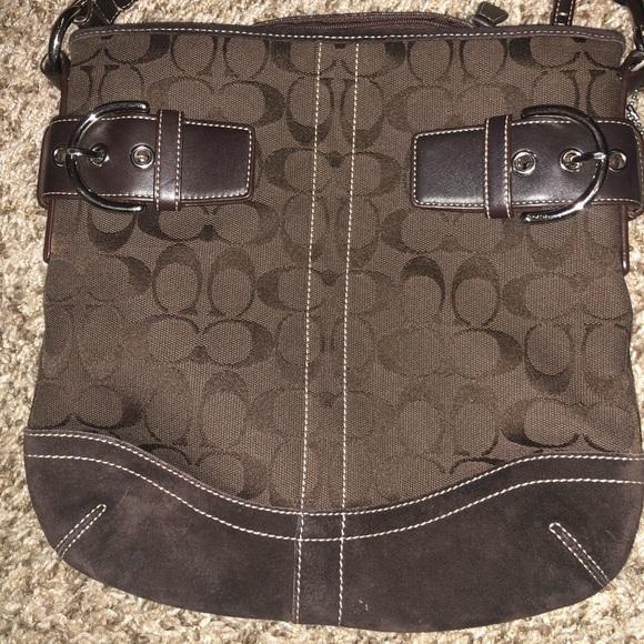 e8266bdb65a9 Coach Handbags - Coach Brown Suede Crossbody Bag F05K-3574